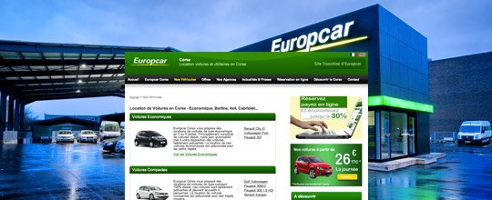 europcar corse location de voiture en corse cr ation de site ugocom. Black Bedroom Furniture Sets. Home Design Ideas